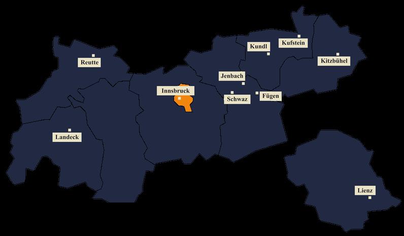 Die Illustration zeigt die Landkarte von Tirol und die Städte, in denen die Infoveranstaltungen stattfinden.