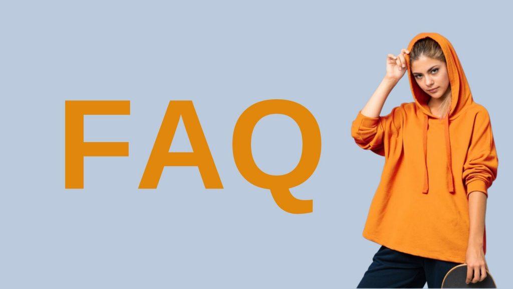 Dieses Bild zeigt ein blondes Mädchen mit einem Skateboard. Daneben steht in großer Schrift FAQ.